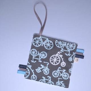 Rattle Hankie Sensory Toy- Grey Bicycle