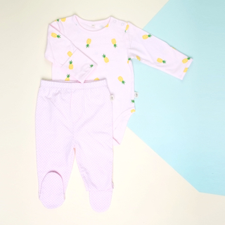 Baby Basics - Long Sleeves Pineapple Pink with Pants footies