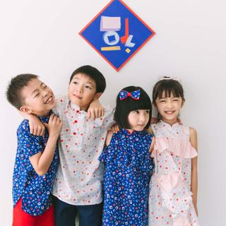 Ruffles Cheongsam - Playful Blocks Blue
