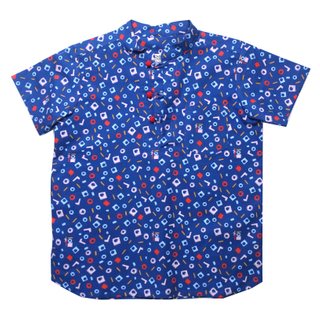 Boy's Knot Shirt - Playful Blocks -Blue