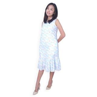 Mommy's V-Neck Midi Cheongsam - Plentiful Koi Blue