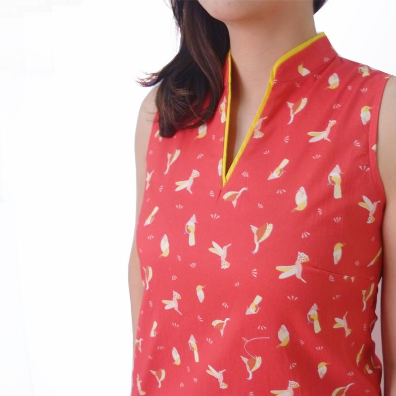 Mommy V Shift Cheongsam - Prosperity Birds -Red