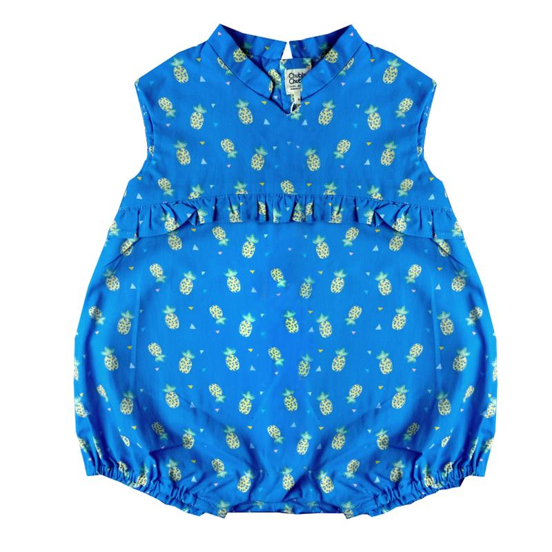 Baby Girl's V Romper  - Wang Pineapple - Blue