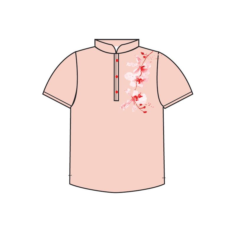 Tanglin Orchid Salmon 3 Button Boy Shirt