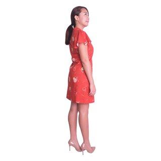 Mommy's Flutter Shirt Dress - Red Longevity Peaches