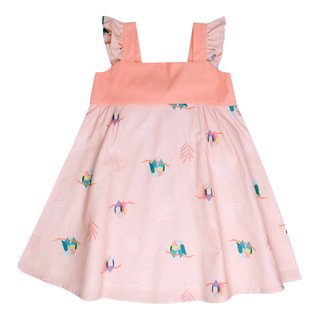 Girls' Sweet Bow  Dress - Pink Lovebirds