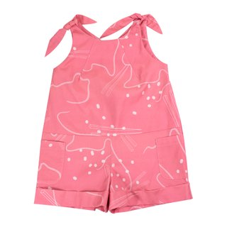Girl's Tie Knot Playsuit - Pink Chopsticks