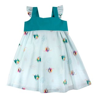 Girls' Sweet Bow Dress - Mint Lovebirds