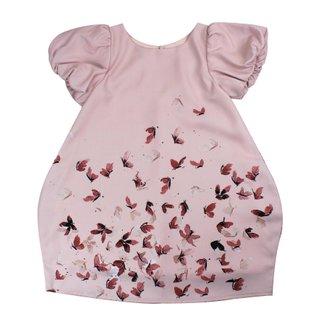 Girl's Bubble Sleeves Dress - Maroon Butterflies