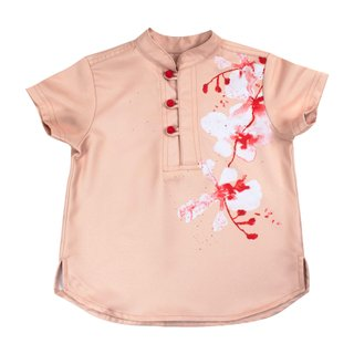 Tanglin Orchid Salmon 3 Button Boy Shirt