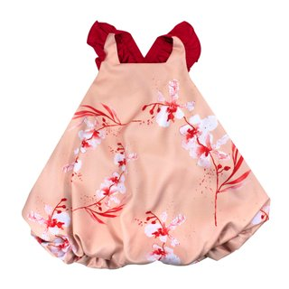 Tanglin Orchird Flutter Sleeves Bubble Dress - Salmon