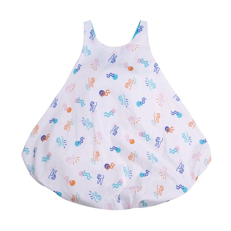 Girls' Bubble Tie Back Dress - White Victory Yay