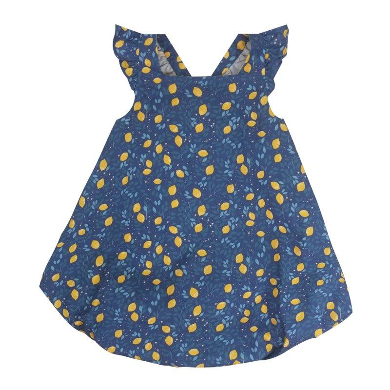 Bubble dress Flutter cross back - Festive Lemon Navy