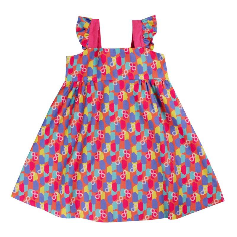 Girls' Reversible Sweet Bow Dress - Colorful Infinity Huat