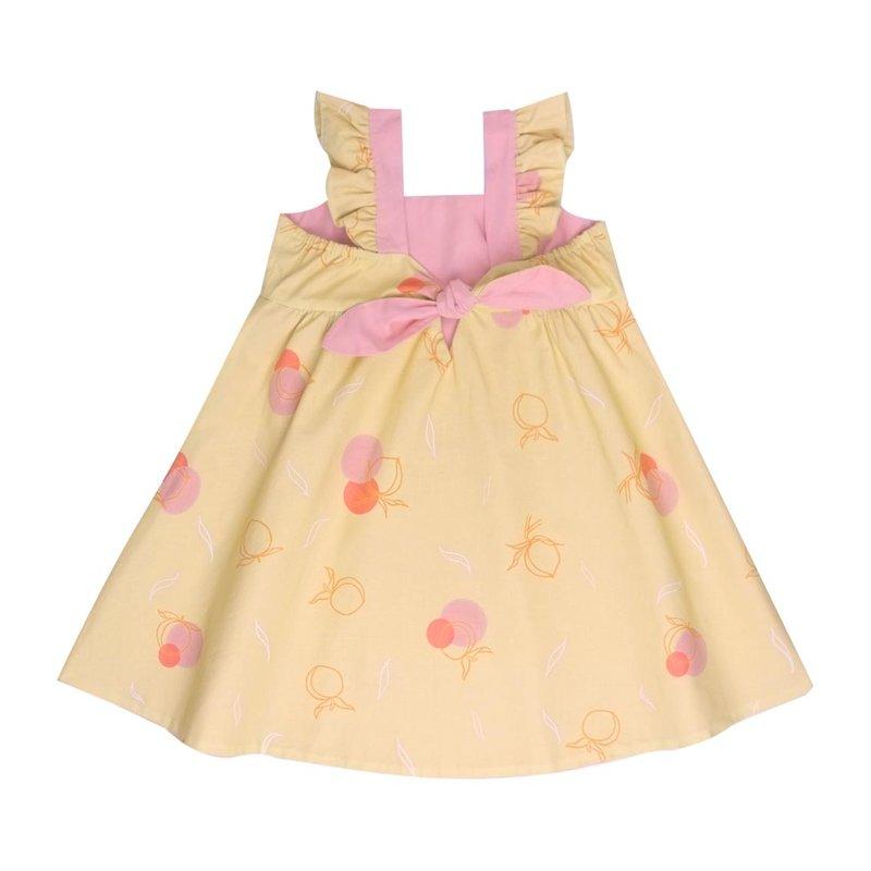 Girls' Reversible Sweet Bow Dress - Yellow Longevity Peaches