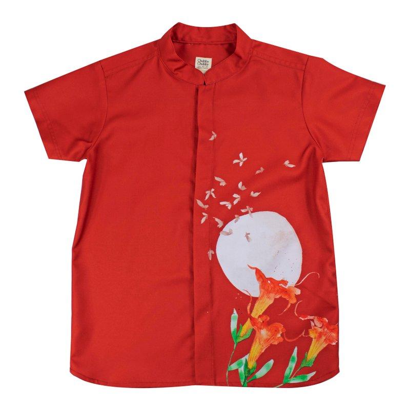 Boy's Mandarin Shirt - Butterflies Dreams Red