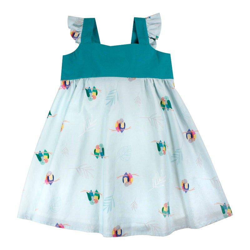 Girls' Sweet Bow Dress - Mint Lovebirds