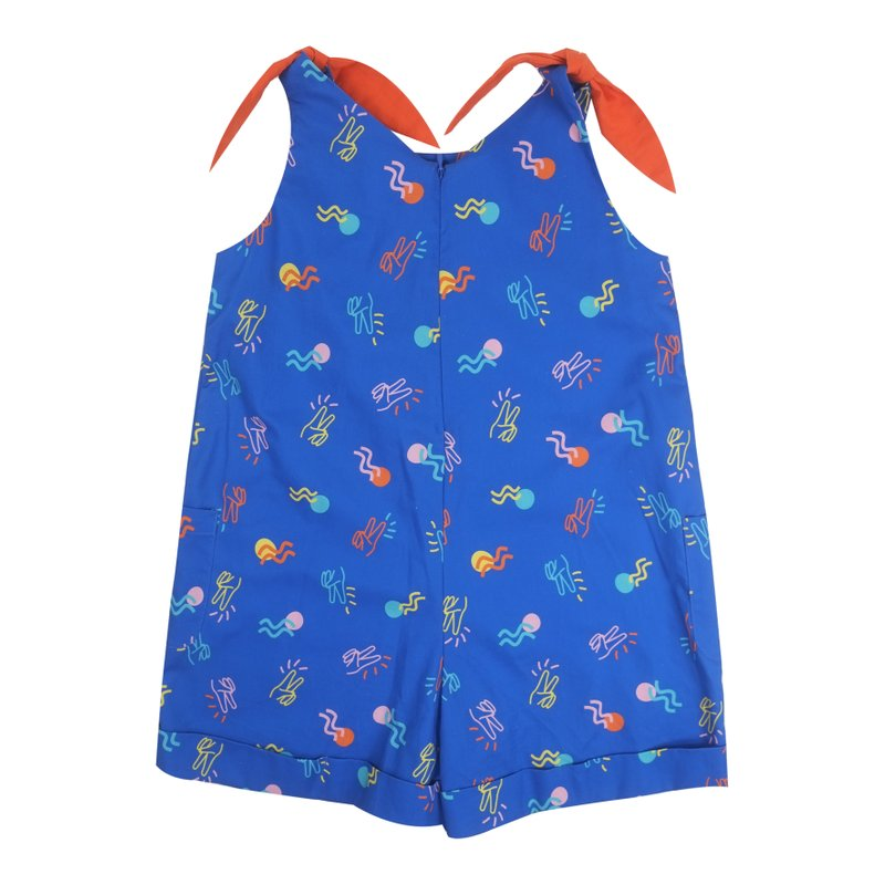 Girl's Tie Knot Playsuit - Blue Victory Yay