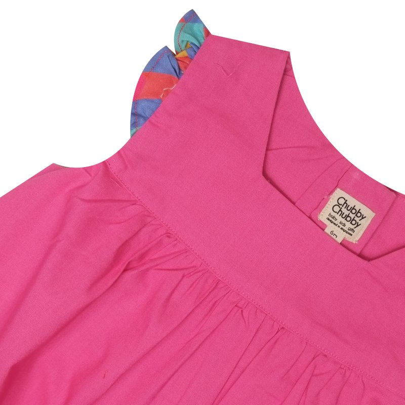 Baby Girl's V Romper -Solid Fuchsia Pink