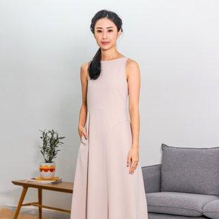 Ladies Asymmetrical Midi Dress - Beige