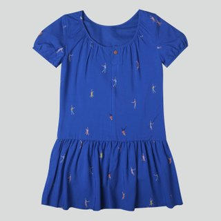 Girl's Puffy Sleeves Dress - Let's Dance - Navy