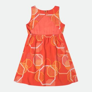 Girl's Abstract Octagon Open Back Dress
