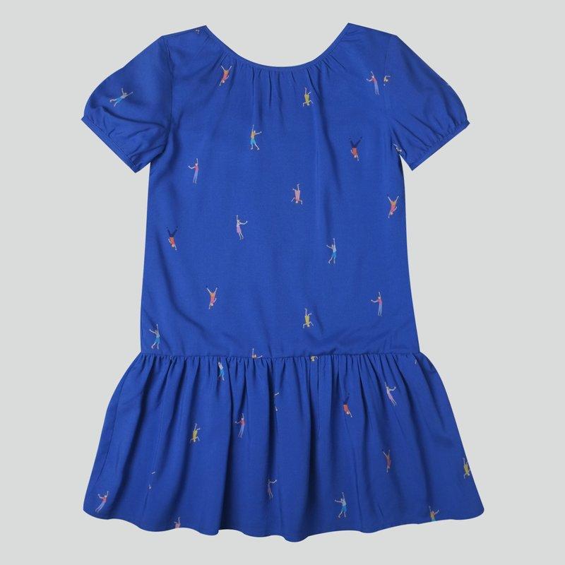Girl's Puffy Sleeves Dress - Let's Dance - Navy