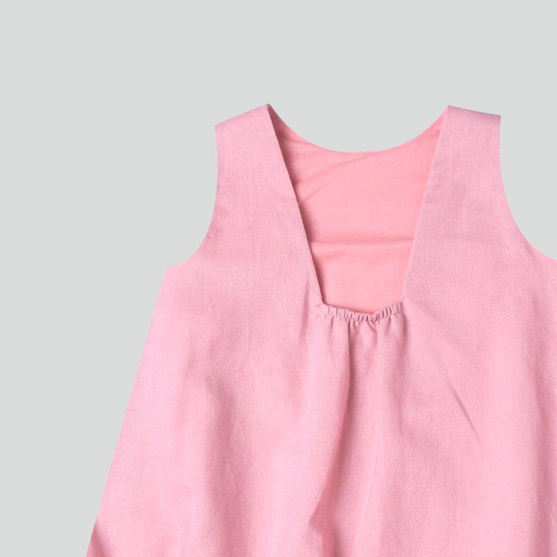 Girl's Square Back Bubble Dress - Dusty Pink Linen