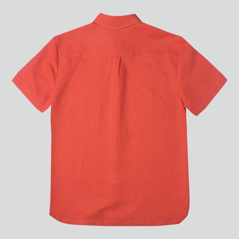 Men's Hexa Linen Shirt- Orange