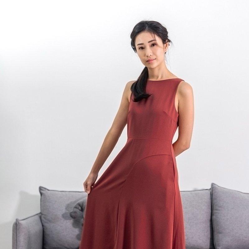 Ladies Asymmetrical Midi Dress - Burgundy Deep Red