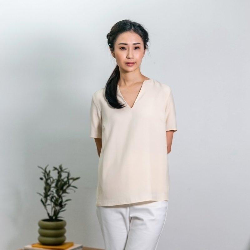 Ladies V Neck Short Sleeves Top - Beige