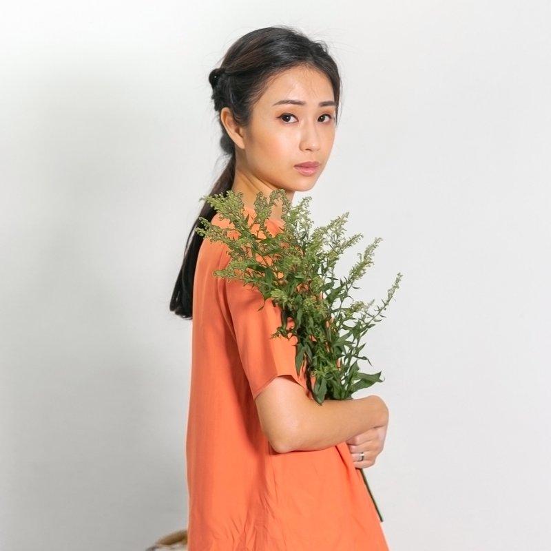 Ladies V Neck Short Sleeves Top - Orange
