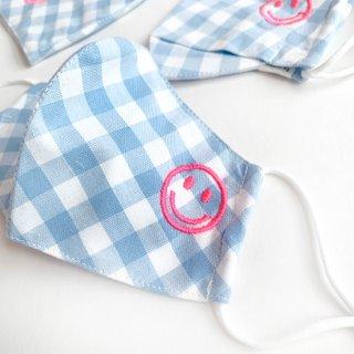 Happy Smiley Cotton Fabric Masks - Blue Checkered + Joy Chain