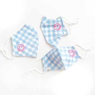 Happy Smiley Cotton Fabric Masks - Blue Checkered Happy Chain