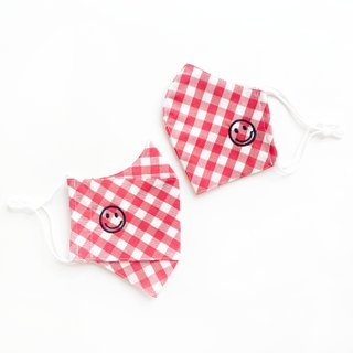 Happy Smiley Cotton Fabric Masks - Red Checkered